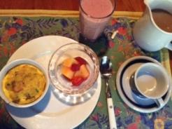 Breakfast casserole w: s-bs+melon
