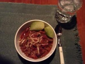 venison chili w: melon