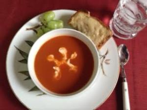 tomato soup w: croq mons, grapes
