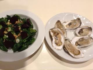 oysters w: beet-walnut salad