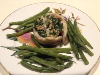 Spinach-Fish Timbales w: gr beans