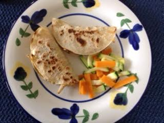chicken quesadillas w: zucc+yam