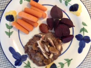 bison-burger-w-carrots-beets