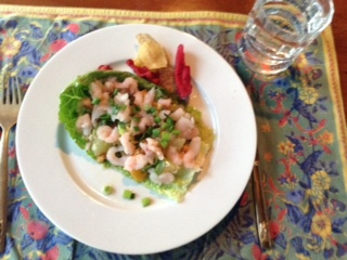 pomelo-shrimp salad w: chips + romaine