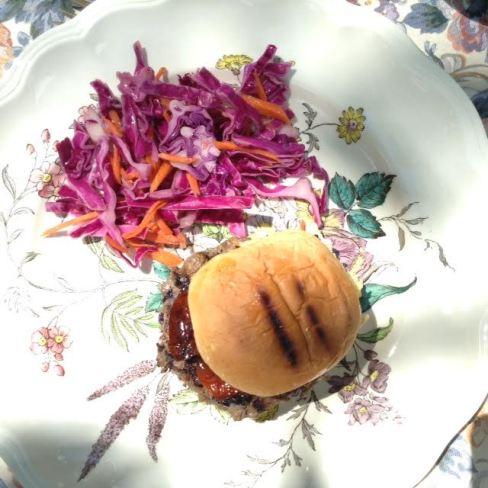 Bison-Blue Burger w: bun & red slaw