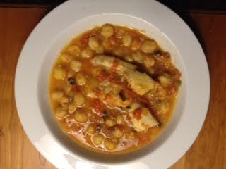 Halibut w: Chickpea Ragout