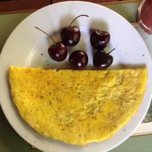 Moroccan Omelette w: cherries
