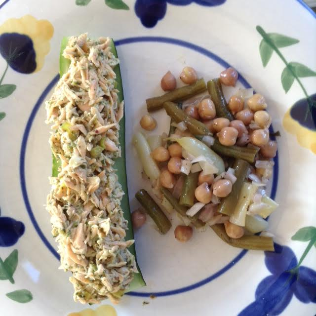 Cucumber Boat w: salmon and 3-bean salad