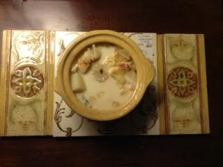 Seafood chowder on Wedgewood tile