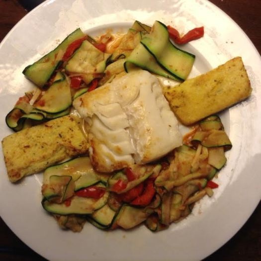 Fish w: Polenta & Zucchini Ribbons