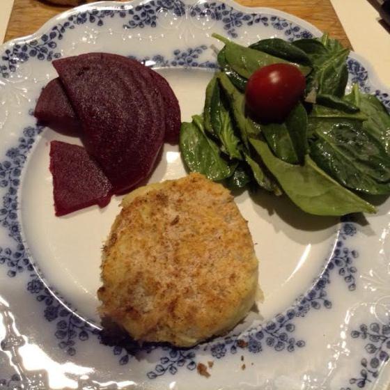 Fish Cake w: beets, salad