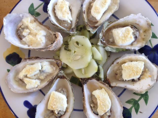 oysters, chevre-stuffed