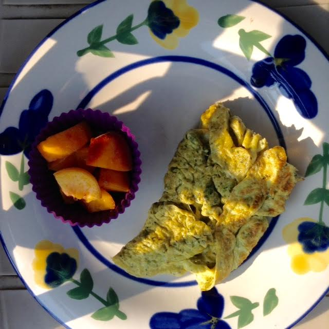 Watercress ScrOmelette w:peaches