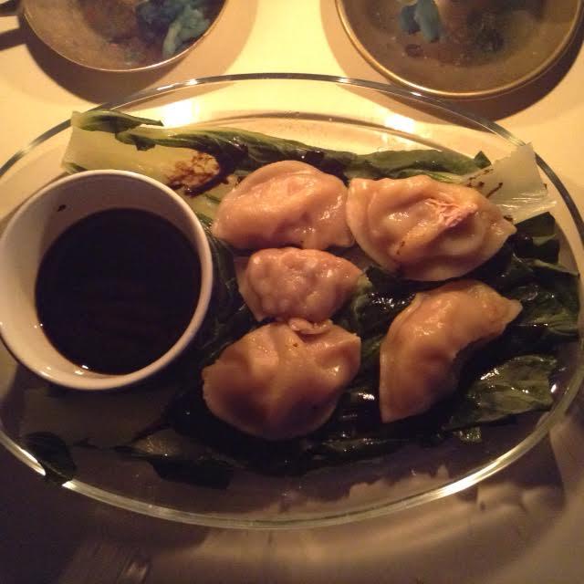 pork dumplings w: bok choy